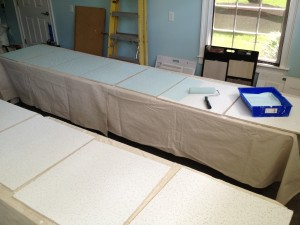 """39 panels were primed and now are being painted """"tranquility blue"""""""
